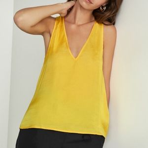 BCBGMAXAZARIA Satin Tunic Tank Yellow